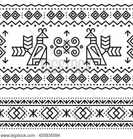 Slovak Tribal Folk Art Vector Seamless Geometric Two Black Patterns With Brids Swirls, Zig-zag Shape