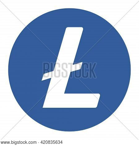 Litecoin Ltc Token Symbol Cryptocurrency Logo, Coin Icon Isolated On White Background. Vector Illust