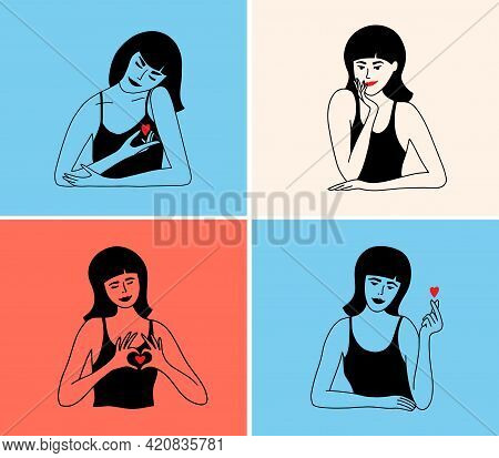 Set Of Colorful Vector Illustrations With Women Show Love Sign By Hands Smiling, Flirting, Hugging H