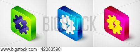 Isometric Gear And Lightning Icon Isolated On Grey Background. Electric Power. Lightning Bolt Sign.