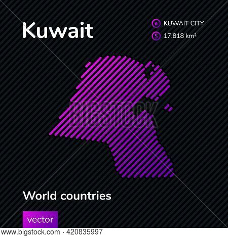 Vector Creative Digital Neon Flat Line Art Abstract Simple Map Of Kuwait With Violet, Purple, Pink S