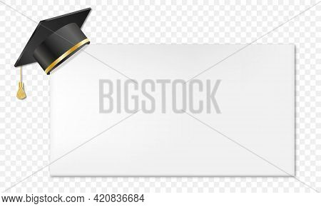 Realistic Mortar Board And Education Hat. Vector Illustration Isolated On Transparent Background