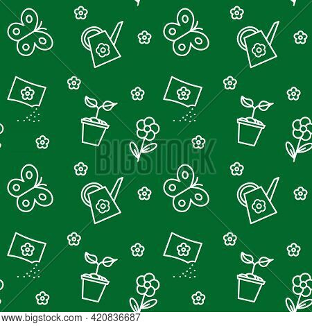 Seamless Pattern With Gardening Tools. Isolated Working Equipment On Green Background. Vector Illust