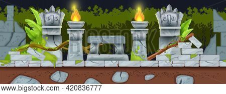 Seamless Cartoon Game Landscape, Ancient Aztec Ruin Night Background, Fire, Totem Face, Stone Altar.