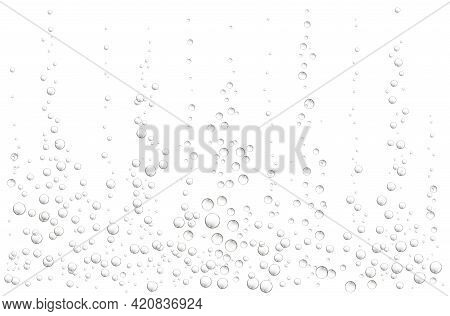 White Background With Fizzing Air Bubbles. Fizzy Sparkles In Water, Sea, Aquarium, Ocean.