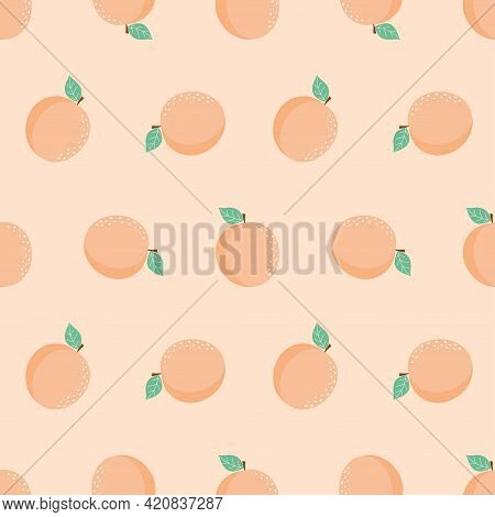 Vector Seamless Pattern With Cartoon Apricots Isolated, Bright Tasty Fruits, Illustration Used For M