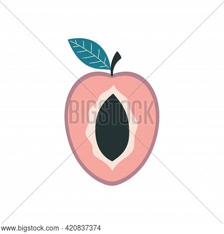 Colorful Juicy Plum With Green Leaf Isolated On White Background, Vector Illustration With Half Of C