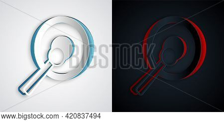 Paper Cut Gong Musical Percussion Instrument Circular Metal Disc And Hammer Icon Isolated On Grey An