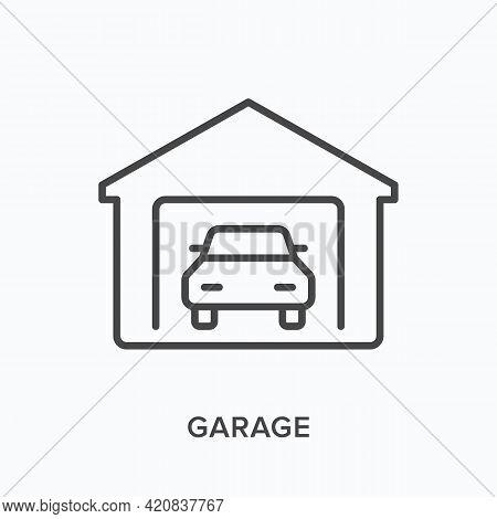 Garage Flat Line Icon. Vector Outline Illustration Of Parking Symbol. Black Thin Linear Pictogram Fo