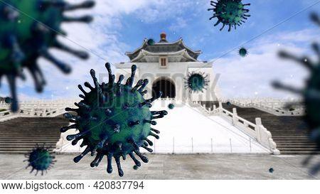 3D Illustration. Virus Covid 19 On Memorial Hall Taipei City. Taiwan Coronavirus