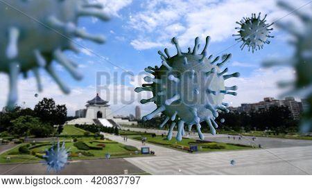 3D Illustration Flu Coronavirus Floating On Memorial Hall. Taiwan Covid 19 Virus