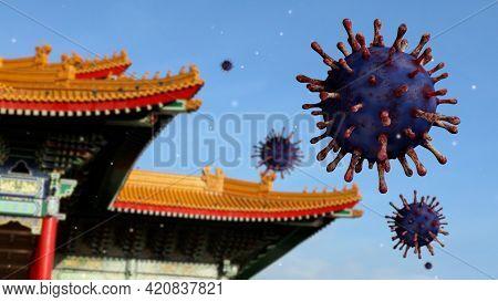 3D Illustration. Covid19 Virus On National Theater Monument Memorial Hall Taipei