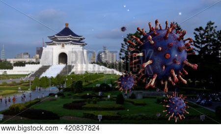 3D Illustration. Famous Taipei Memorial Hall And Coronaviruses Pandemic. Covid19