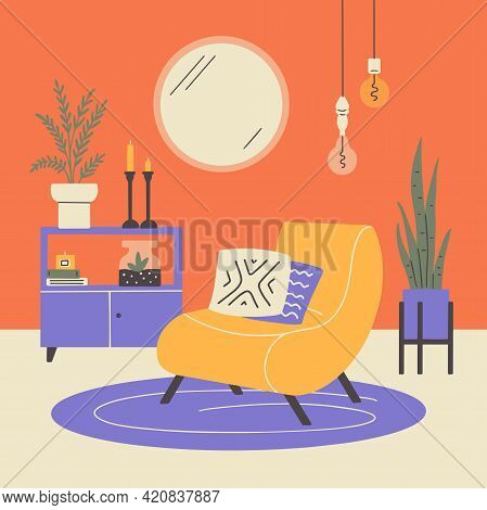 Scandinavian Or Japandi Style Home Decor. Cozy Interior Design Of Modern Apartment With Houseplants,