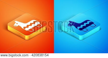 Isometric Pinata Icon Isolated On Orange And Blue Background. Mexican Traditional Birthday Toy. Vect