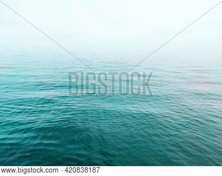 Endless Sea Landscape, No Horizon. Calm Sea Background, Deep Blue Ocean Wallpaper.