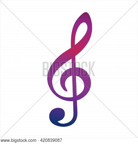 Colorful Music G-clef Icon. Vector Illustration On White Background
