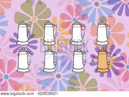 Composition of summer cocktails on multi coloured floral patterned purple background. summer and holiday concept digitally generated image.