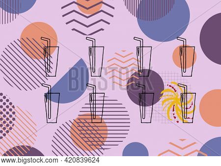 Composition of summer cocktails on multi coloured patterned purple background. summer and holiday concept digitally generated image.