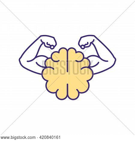 Mental Strength Rgb Color Icon. Willpower And Determination For Goal Achievement. Mind Power For Suc