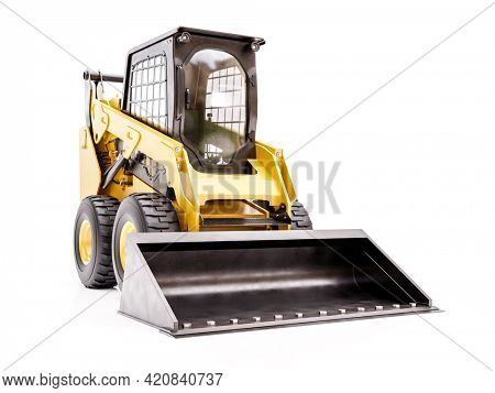 3D rendering of compact earth loader on white background
