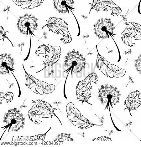 Vector Pattern With Dandelions And Feathers.dandelions And Feathers In Black On A White Background I