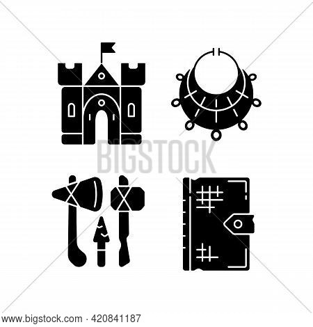 Antiquities Excavation Black Glyph Icons Set On White Space. Medieval Castle. Excavated Treasure. St