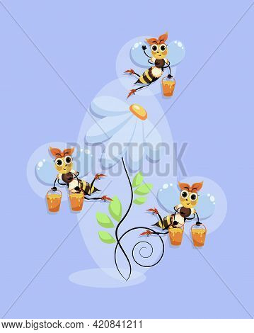 Worker Bees Swarming. Honey Bees Fly In A Flower Meadow. Bee. Vector Background. Bee Swarm In A Camo