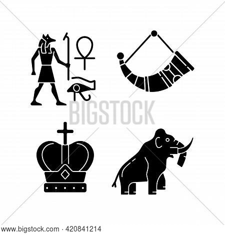 Ancestors Heritage Black Glyph Icons Set On White Space. Egyptian Wall Drawings. Drinking Horns. Roy