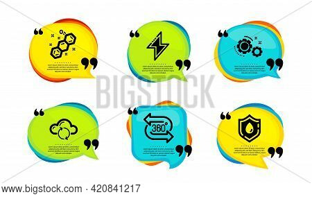 Cloud Sync, Gears And Chemical Formula Icons Simple Set. Speech Bubble With Quotes. Energy, 360 Degr