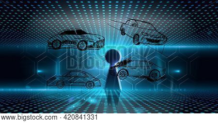 Composition of keyhole, digital hexagons and blue spots over car drawing. global engineering, car industry, technology and data processing concept digitally generated image.