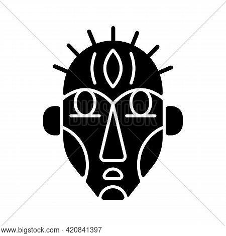 Ritual Masks Black Glyph Icon. Supernatural Beings, Ancestors Representation. Ceremonial Mask. Using