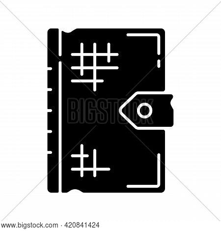 Ancient Book Black Glyph Icon. Old Religious Texts. Storing Thoughts, Theories, Observations. Oldest