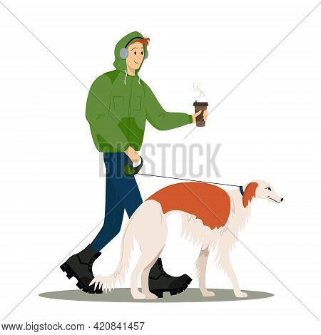 The Guy Walks With His Dog And Drinks Coffee. A Man Walks A Greyhound. Vector Flat Style Illustratio
