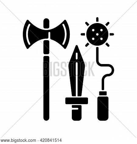 Knight Weapons Black Glyph Icon. Medieval Times. Arming Sword And Lance. Mace, Battle-axe. Tournamen