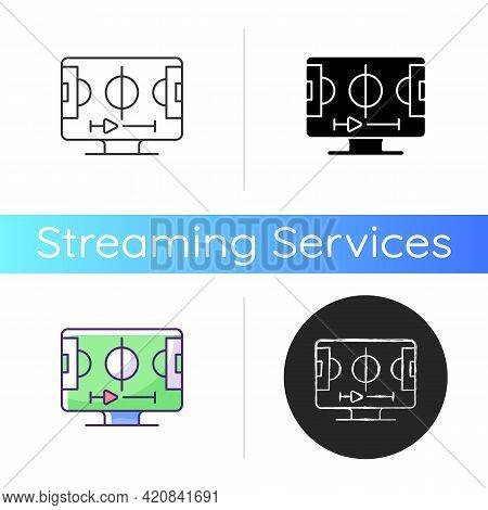 Sports Streaming Icon. Watching Live Sporting Events. Football, Basketball And Baseball Games. Telev