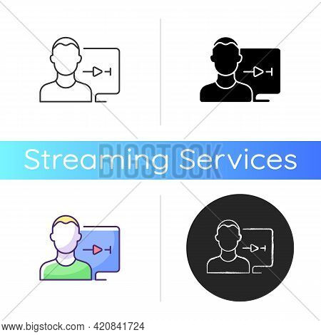 Streaming Service User Account Icon. Watching Video Content At Home. Watching Tv Shows And Movies. A