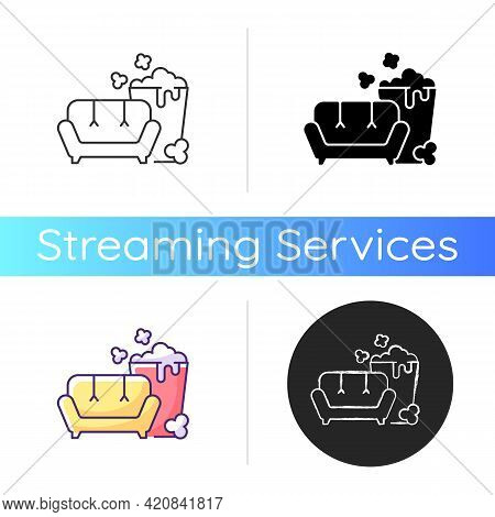 Tv Series Streaming Icon. Mini-series. Watching Tv With Popcorn Bucket. New Releases. Different Seri