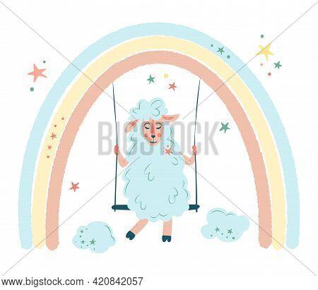Nursery Vector Illustration In Cartoon Style. Cute Sheep. The Lamb Is Swinging On The Rainbow. For B