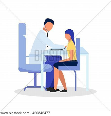 Seeking Medical Care Flat Color Vector Faceless Characters. Physician, Patient. Planning Treatment F