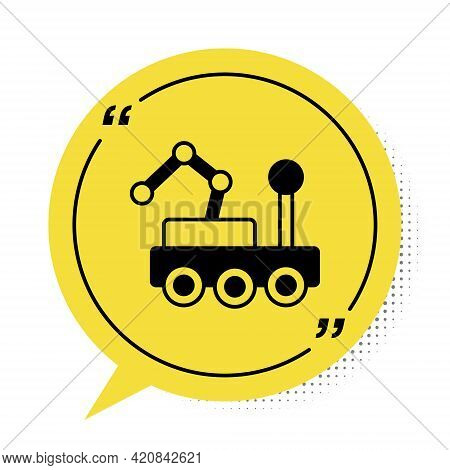 Black Mars Rover Icon Isolated On White Background. Space Rover. Moonwalker Sign. Apparatus For Stud