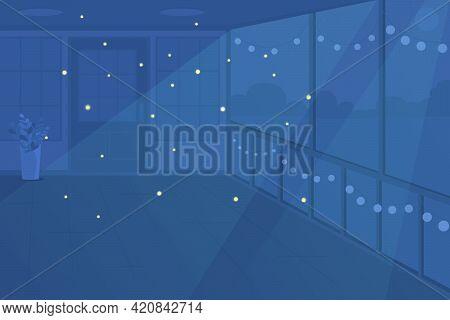 Patio At Night Time Flat Color Vector Illustration. Moonlight Illuminance. Turning Lights Off. Empty