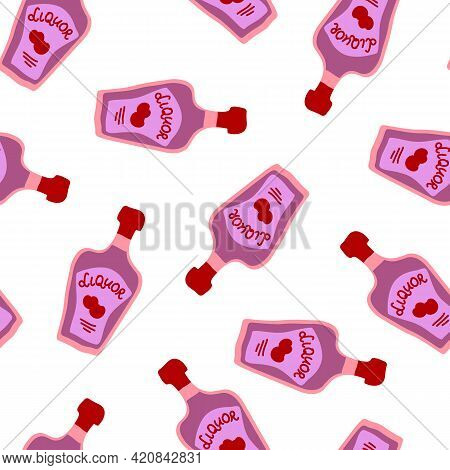 Liquor Bottles Seamless Pattern. Doodle Style. Hand Drawn Image. Repeat Template With Berries On The