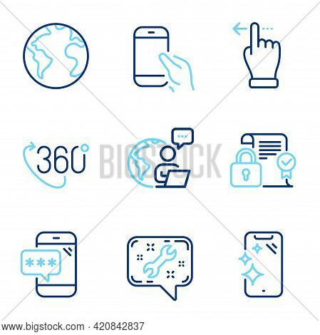 Technology Icons Set. Included Icon As Smartphone Clean, Spanner, Hold Smartphone Signs. 360 Degree,