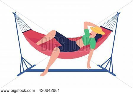 Spending Carefree Time In Hammock Flat Color Vector Faceless Character. Lounging In Cradle On Backya