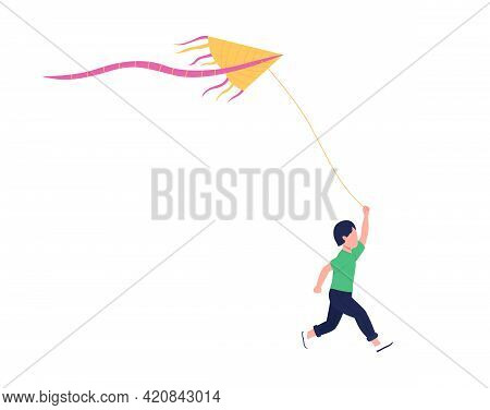 Little Boy With Flying Kite Flat Color Vector Faceless Character. Stress-reducing Hobby. Making Kite
