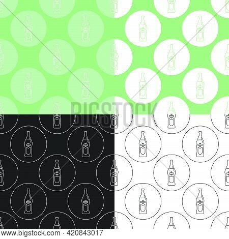 Four View Seamless Pattern Of Bottle Of Vermouth In Flat Style In Form Of Thin Lines. In The Form Of
