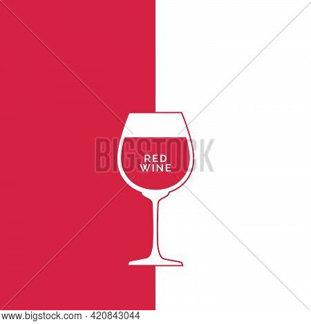 Wineglass Red Wine In Flat Style. Symmetric Beverage Outline Icon With A Text. Isolated On Colored B