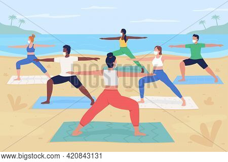 Yoga Retreat During Pandemic Flat Color Vector Illustration. Summer Vacation Activity During Covid.
