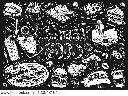 Hand Drawn Vector Illustration. Doodle Street Fast Food: Bao, French Fries, Sausage Bread, Barbecue